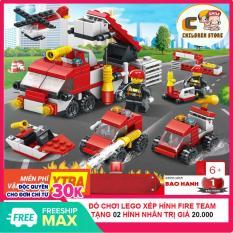 Bộ Đồ Chơi Xếp Hình Lego Fire Rescue Team ( Biệt Đội Cứu Hỏa) CS1010 Children Store 128 Mảnh Ghép, Nhựa ABS An Toàn Cho Bé