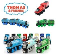 Bộ sưu tập xe lửa Thomas gỗ, xe chơi được với các loại đường ray xe lửa gỗ BRIO, HAPE, GINIMAG, EDWONE.