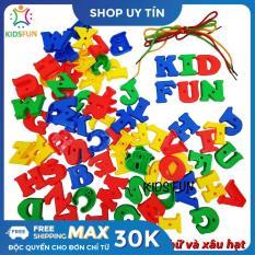 Bộ đồ chơi 70 chữ cái Tiếng Anh kết hợp xâu dây rèn luyện kỹ năng khéo léo, nhận biết và ghép chữ nhiều màu sắc bằng nhựa ABS cao cấp dành cho bé từ 3 tuổi trở lên