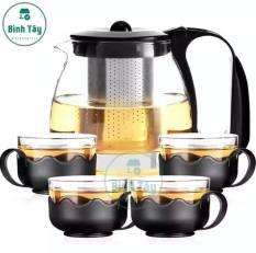 Bình ấm trà thuỷ tinh có túi lọc inox dung tích 1000ml thiết kế độc đáo + Tặng kèm 4 ly thuỷ tinh MH-T4C