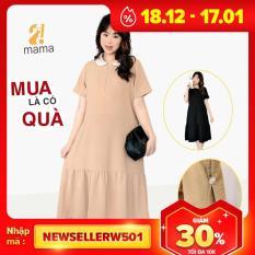 Đầm váy bầu dự tiệc 2MAMA giá rẻ đẹp dáng suông đuôi cá sang chảnh màu đen be – V19