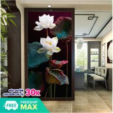 Tranh treo tường hoa sen trắng hiện đại in trên canvas có khung, trang trí phòng khách, phòng ngủ (#10011595)