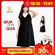 Đầm váy bầu công sở 2MAMA dáng suông thiết kế sơ mi pha màu đen trắng V01