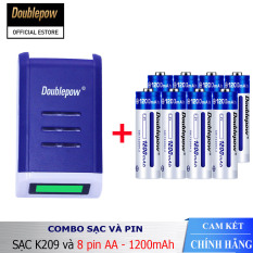 Combo sạc pin thông minh tự ngắt DP-K209 và 8 viên pin AA 1200mAh (dung lượng thực)- Bảo hành chính hãng