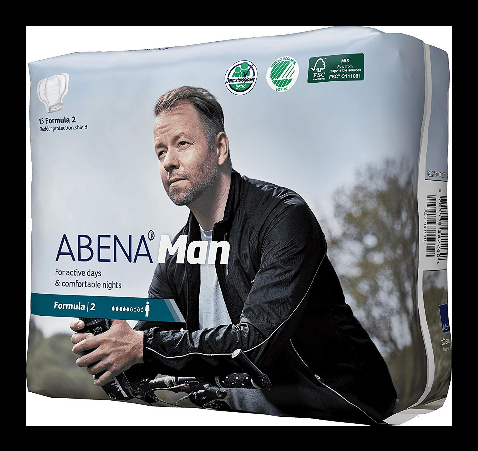 Băng vệ sinh nam giới Abena Man Formula – 15 miếng/gói – hàng nhập khẩu Đan mạch (cho người thiếu tự chủ bài tiết, thiết kế phù hợp với đặc thù cơ thể nam giới, nhẹ, êm, thoáng khí và rất kín đáo)