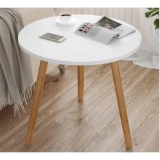 Bàn trà tròn, bàn sofa tròn mặt gỗ kích thước 60cm
