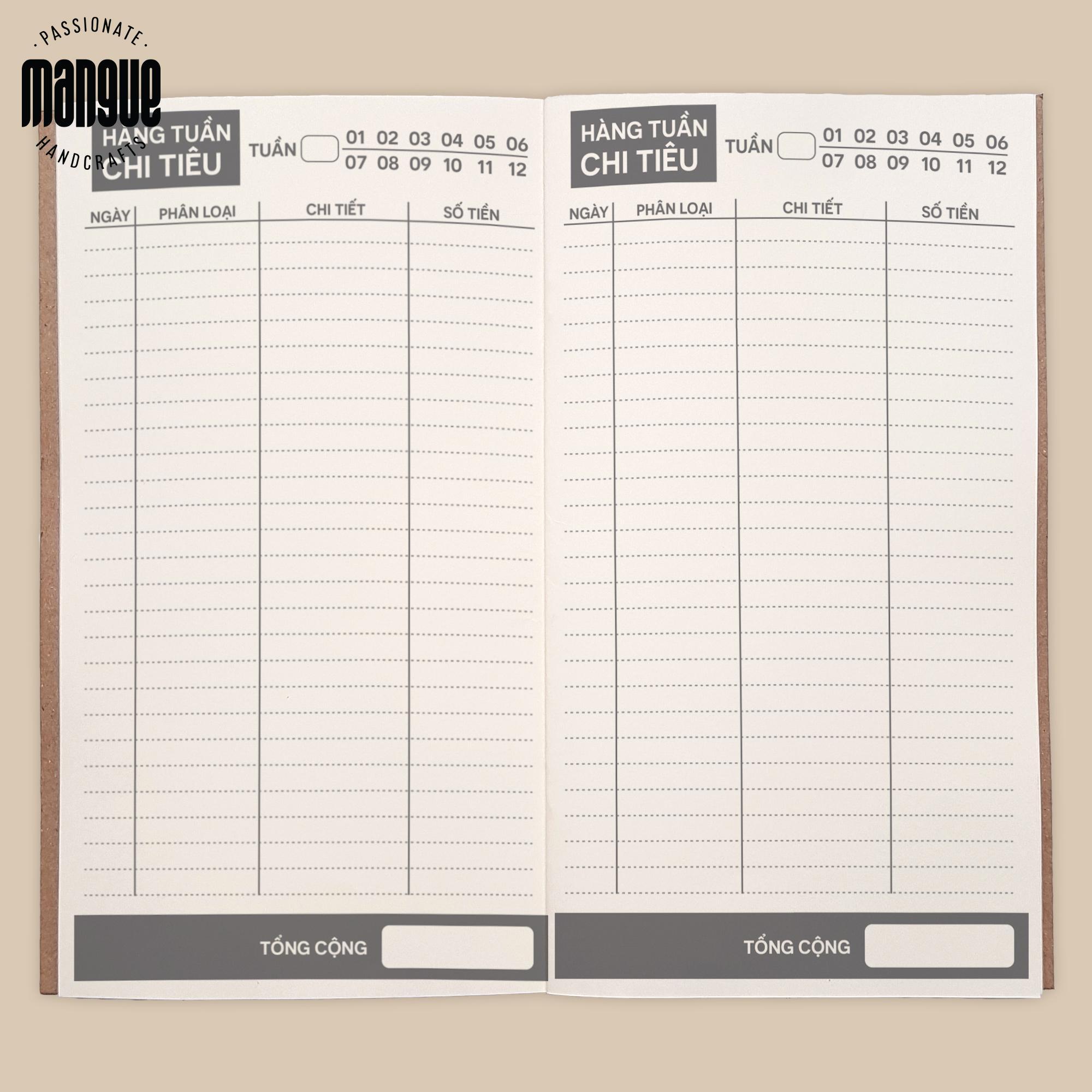 Sổ tay planner giữ tiền bìa cứng 21x11 tài chính cá nhân, thu chi, tiết kiệm, to-do list, thời gian...