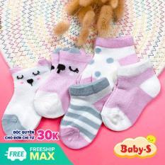 Set 5 đôi tất lưới cổ thấp cho bé trai và bé gái từ 0-2 tuổi chất cotton lưới thông thoáng nhẹ nhàng đủ họa tiết và màu sắc xinh xắn Baby-S – ST002