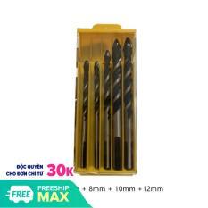 Bộ 5 mũi khoan đa năng mũi thép Tungsten 6-12mm khoan trên gạch, gạch men, gốm, sứ, thủy tinh, bê tông, tường xi măng, đá, nhôm, gỗ