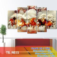 Bộ 5 tấm tranh treo tường Mã Đáo Thành Công TB.NB15 /Gỗ nhập khẩu Hàn Quốc-Bo viền,chống lóa,ẩm mốc,mối mọt