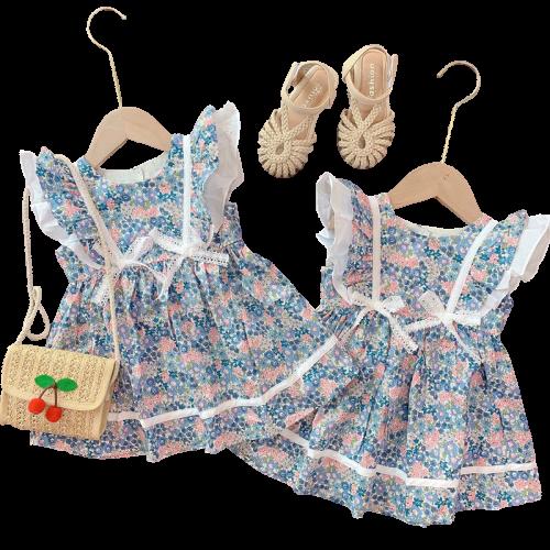 Váy bé gái cánh tiên hoa xanh cực xinh cho bé
