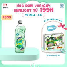 Nước rửa chén Sunlight Diệt Khuẩn chiết xuất Chanh và Lá Bạc hà chai 750G