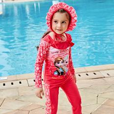 bộ đồ bơi bé gái 3 món , ( kèm nón) quần dài, tay dài, chống nắng, hàng QC.