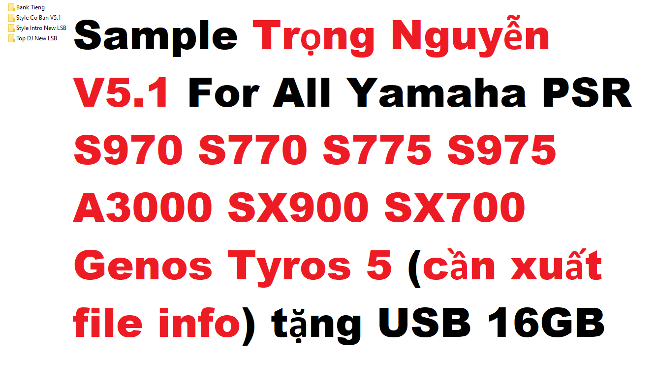 Sample Trọng Nguyễn V5.1 For All Yamaha PSR S970 S770 S775 S975 A3000 SX900 SX700 Genos Tyros 5