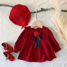 Váy đỏ cổ vuông nơ hoa hồng cực yêu cho bé – VBG-nơ-hh