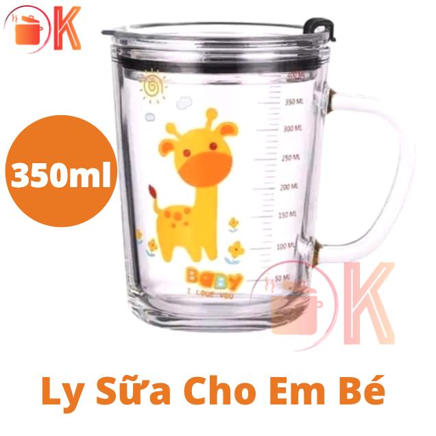 Ly sữa cho em bé nhiều hình hoạt hình ANIMALS ADORABLE bằng thuỷ tinh 350ml TẶNG ( Nắp + Ống hút ) TP-L019 thích hợp làm quà tặng