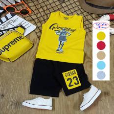 Bộ quần áo bé trai vải cotton 4 chiều in họa tiết thể thao JD MIMYKID cho bé 8-35kg