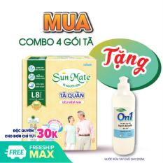 [Tặng gel rửa tay kháng khuẩn] Combo 4 gói tã quần Sunmate size M9 – size L8 siêu mềm mại