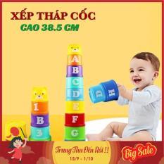 Đồ chơi trẻ em thông minh cốc xếp chồng 9 tầng cao 39 cm cho bé học phân biệt màu sắc, số chữ và so sánh cao thấp lớn bé