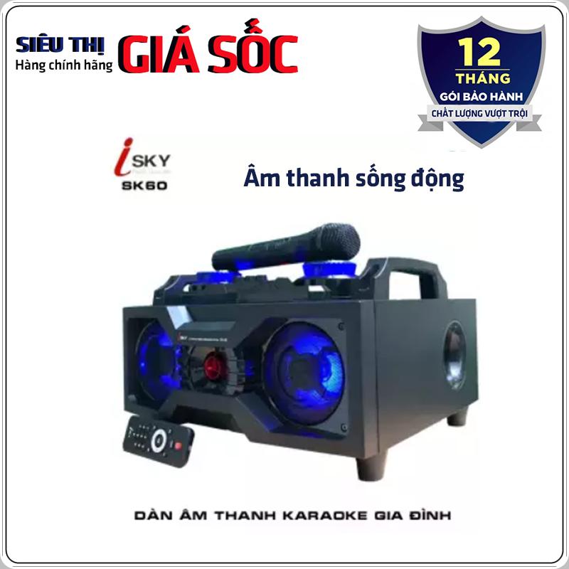 Dàn âm thanh tại nhà – dàn karaoke gia đình- loa vi tính công suất lớn hát karaoke âm thanh đỉnh cao có kết nối Bluetooth USB Isky – SK60 (Tặng kèm Micro không dây)