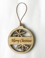 Phụ kiện trang trí Noel: Biểu tượng Giáng Sinh vintage khắc laser chữ Merry Christmas bằng gỗ xinh xắn, có móc treo – Wooden Studio