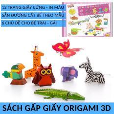 Sách gấp giấy Origami 3D Nhật bản bìa cứng có màu đủ chủ đề bé Trai Gái