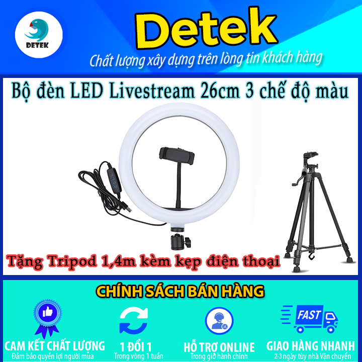 Bộ đèn LED Livestream 26cm 3 chế độ màu tặng kèm giá kẹp điện thoại và chân tripod 1,4 mét