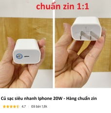 Củ sạc siêu nhanh PD 20W iPhone/iPad Type C Lightning – Hàng chuẩn zin 1:1
