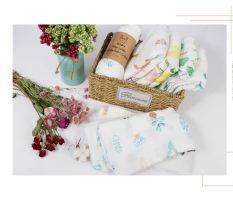Khăn tắm sợi tre cho bé. Khăn tắm cho bé (Size lớn) khăn sợi tre kháng khuẩn mềm mại – Họa tiết đáng yêu. Kích thước 110*120cm