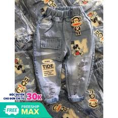 Quần jeans dài micky túi hộp cho bé trai, bé gái 7-22kg
