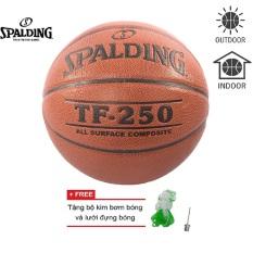 Bóng rổ Spalding TF250 All Surface Indoor/Outdoor Size 6 + Tặng bộ kim bơm bóng và lưới dựng bóng