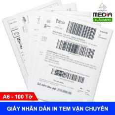Giấy Nhãn Dán Decal Media A6 100 Tờ In Tem Vận Chuyển In Phiếu Gửi Hàng Dùng Cho Máy In Laser