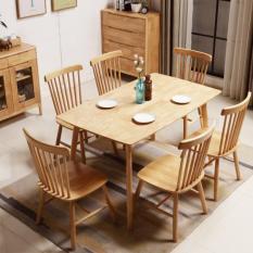 bộ bàn ăn pinnstol Anpha màu gỗ tự nhiên 6 ghế (giao hàng Mphí+Htrợ Lđặt)