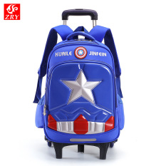 Balo kéo học sinh Captain America cần kéo 6 bánh