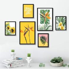 Tranh treo tường hiện đại – Bộ tranh 06 bức cây hoa nhiệt đới gam vàng rực rỡ. Tặng kèm khung và đinh treo tường – TP167