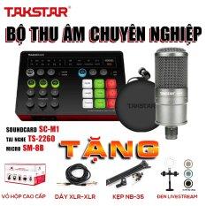 Combo Mic Thu âm chính hãng TAKSTAR Hát Karaoke Livestream Soudcard SC-M1 micro SM-8B tai nghe kiểm âm TS-2260 Bảo hành 12 tháng