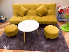 SF- Bộ sofa bed màu vàng nhung ngồi rất êm