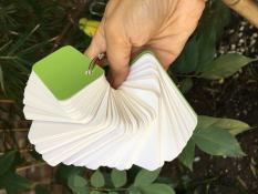 Hàng cao cấp-100 thẻ flashcard trắng 4×7 siêu dày bo góc đục lỗ kèm khoen bìa học ngoại ngữ
