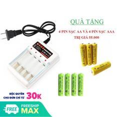 Sạc pin thông minh cho pin AA và AAA tiện dụng tặng kèm 8 viên pin sạc (4 viên AA + 4 viên AAA)