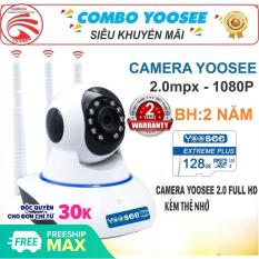 (KÈM Thẻ Nhớ SD YOOSEE 128 GB BẢO HÀNH 24 THÁNG)Camera IP Wifi Yoosee 3 Râu xoay 360 độ độ phân giải FULL HD 2.0MP 1920x1080p Không DâyCamera trong nhàngoài trời Camera hồng ngoại tích hợp ghi âmlưu trữ dữ