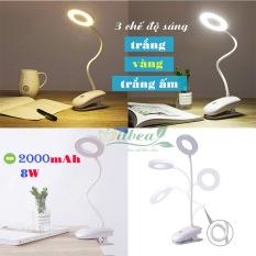 Đèn kẹp bàn siêu sáng 8W pin sạc 2000mAh SL-828 với 3 chế độ ánh sáng trắng, vàng và trắng ấm điều chỉnh được độ sáng