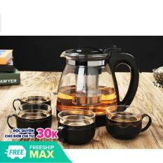 Bộ Bình Lọc Trà Thủy Tinh Kèm 4 Ly Lưới Lọc Inox 304 T.H Liac Tiện Dụng – Bình PhaTrà, Cafe Glass TeaPot Cao Cấp 700ml Tặng Kèm Ly Tiện Dụng