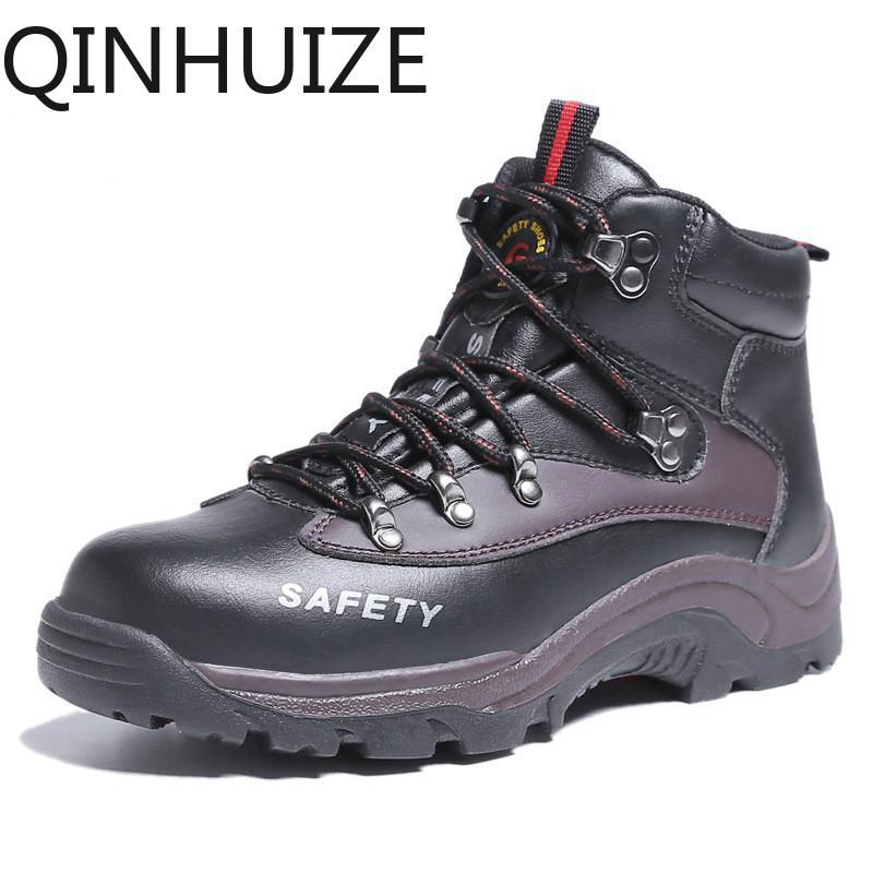 QINHUIZE Thời trang mới làm việc Giày Thép Không Gỉ mũi giày làm việc an toàn Giày nam Cao Cấp giúp lao động bảo hiểm cho nam của đập vỡ đâm thời trang giày Bảo Vệ giày