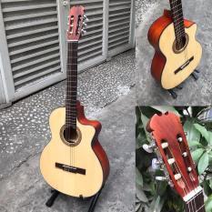 Đàn guitar classic gỗ hồng đào SVC1 có ty chống cong cần, tặng bao da, sách, phím gảy
