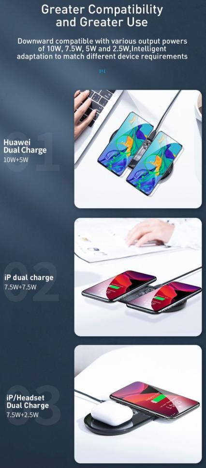 Đế sạc nhanh không dây Baseus Simple 2 in 1 Wireless Charger 15W cho iPhone và Airpods – Bản trong suốt