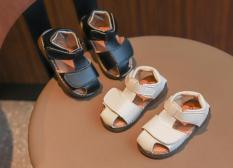 Sandal Bé Trai Mũi Rọ bằng da PU êm mềm ( Đen, Trắng)