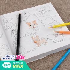 Sách tô màu 5000 hình tặng 12 bút chì màu cho bé thỏa sức sáng tạo