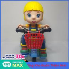 Đồ chơi trẻ em bé đi xe đạp có nhạc bánh xe phát sáng, có âm nhac xoay 360 độ, an toàn cho trẻ