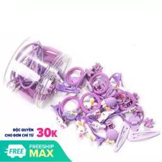 Hộp 50 dây buộc tóc + kẹp tóc đính nơ dễ thương cho bé(hộp nhựa tròn)
