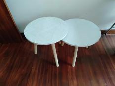 Cặp bàn sofa tròn trắng phòng khách 50-50